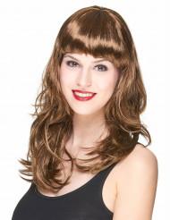 Parrucca lunga castano scuro donna