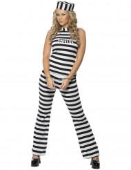 Costume da carcerata con pantaloni per donna
