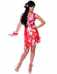 Costume rosso a fiori hawaiana donna