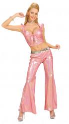 Pantalone da disco rosa per donna