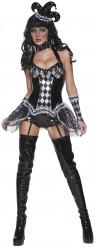 Costume sexy da arlecchino del male Halloween donna