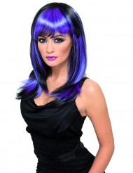 Parrucca lunga nera ciocche viola adulti