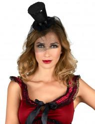 Mini cappello a cilindro nero donna