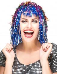Parrucca tricolore metallizzata adulti