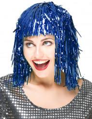 Image of Parrucca blu metallizzato adulti