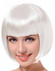 Parrucca a caschetto bianca con frangetta per donna