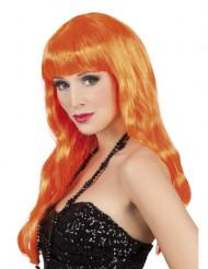 Parrucca lunga arancione donna