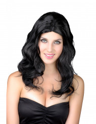 Parrucca lunga nera e ondulata donna