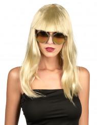Parrucca lunga bionda con frangia donna