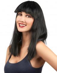Parrucca scura con frangia donna