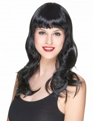 Parrucca nera con frangia per donna
