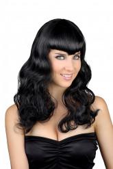 Parrucca nera con frangia donna