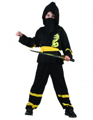 Costume ninja con cintura gialla per bambino