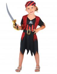 Costume da pirata rosso e nero bambina