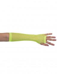 Mezzi guanti reticella gialli per donna
