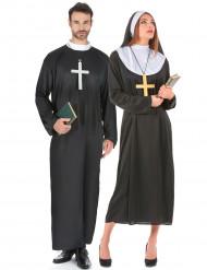 Costume di coppia di religiosi prete e suora