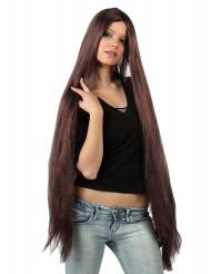 Parrucca extra lunga castana adulto