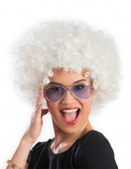 Parrucca afro disco clown bianca adulto