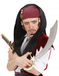 Parrucca pirata con bandana rossa uomo