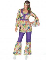 Costume hippy fiori viola per donna