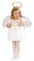 Costume angelo con coroncina dorata per bambina