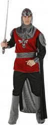 Costume cavaliere rosso e nero uomo