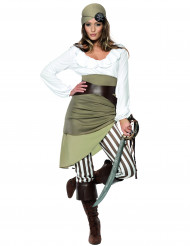 Costume pirata bianco e verde per donna