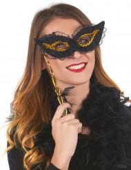 Maschera su asta nero e oro adulto