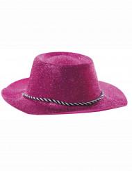 Cappello rosa cowgirl con paillettes