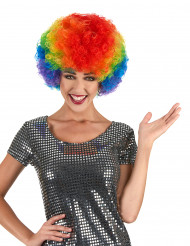 Parrucca afro/clown multicolore confort adulto