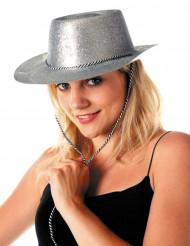 Cappello cowgirl argento paillettato