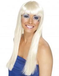 Parrucca biondo chiaro lunga donna