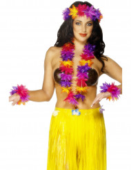 Collana hawaiana giallo, viola, rosa