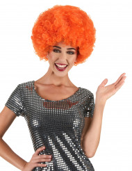 Parrucca afro/disco/clown arancione confort adulti