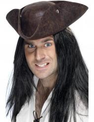 Cappello da pirata in finto cuoio scuro