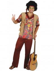 Costume hippie marrone a fiori per uomo