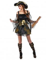 Costume da pirata nero e oro per donna