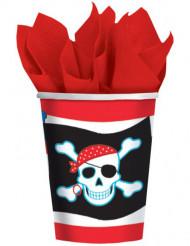 8 Bicchieri a tema pirata rosso e nero