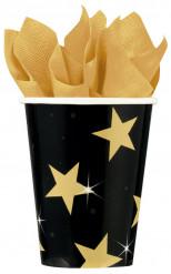 Bicchieri nero e oro stellato
