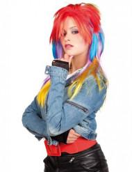 Parrucca multicolore punk donna