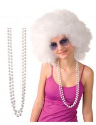 2 Collane di perle bianche per adulto