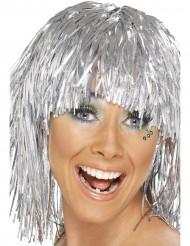 Parrucca metallica argento adulto
