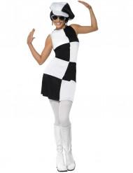 Costume disco bianco e nero per donna