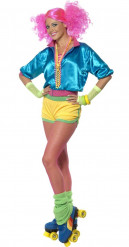 Costume da roller girl colori pop per adulto