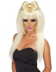 Parrucca bionda lunga donna con fiocco