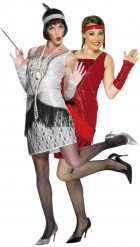 Costume coppia charleston rosso e argento donna