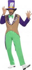 Costume da cappellaio viola e verde per uomo