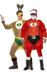 Costume coppia Super renna e super Babbo Natale muscolosi