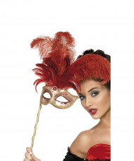 Mascherina veneziana con piume rosse adulto