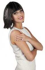 Parrucca corta con frangetta e fili argentati donna